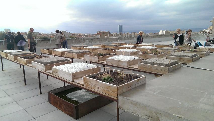 Photo de l'installation sur le toit-terrasse de La Friche La Belle de Mai, du groupe Dunes artistes Madeleine Chiche et Bernard Misrachi