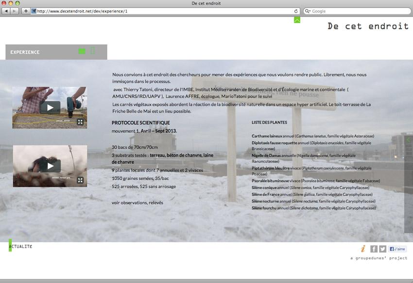 exemple de page du site decetendroit.net