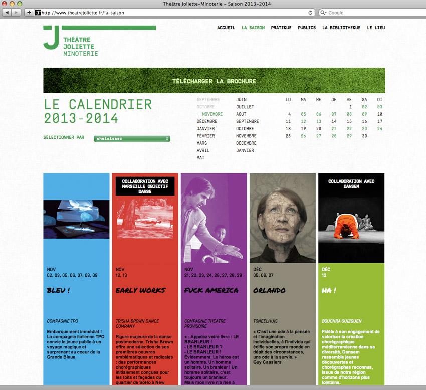 page agenda de la saison en cours du Theâtre Joliette Minoterie
