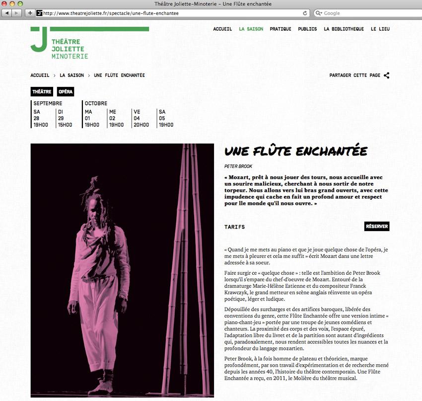 fiche spectacle du site Théâtre Joliette Minoterie. ici la flûte enchantée de Peter Brook