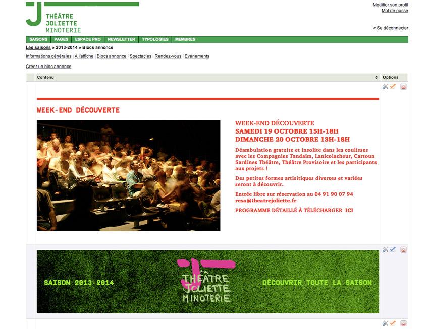 vue du Back-Office custom  sur mesure pour le site du théâtre Joliette Minoterie