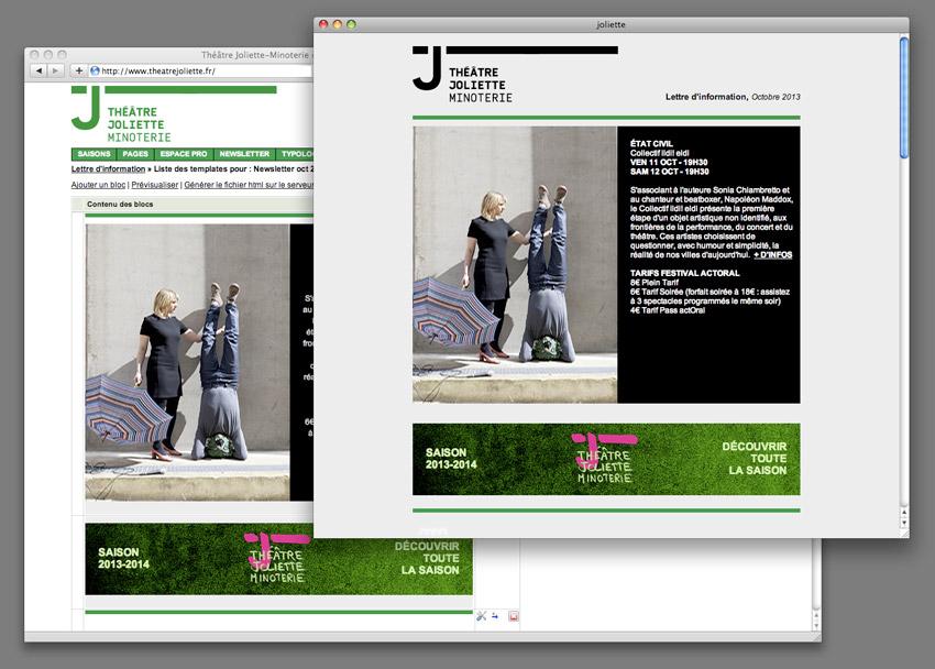 la vue du back office qui va générer le code de la newsletter éditée pour le théâtre joliette Minoterie Marseille