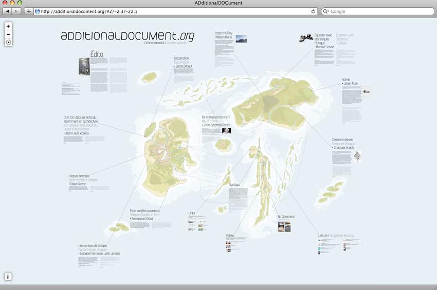 Capture d'écran de la page d'accueil de Additional document, revue web de création et de réflexion Documents d'artistes