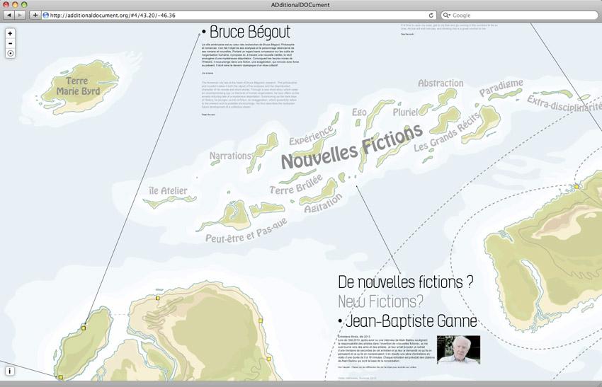 zoom sur la carte dessinée par l'Atelier Van Lieshout et contenant le contenu de la revue web d'Additional Document #1 Revue web de Documents d'Artistes Provence-Alpes-Côte d'Azur