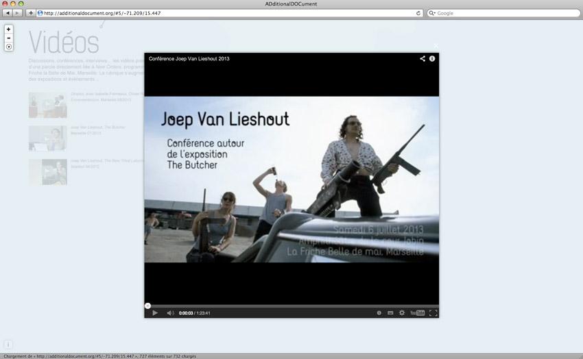 Vidéos et contenus en light box de l'interface Additionnal Document