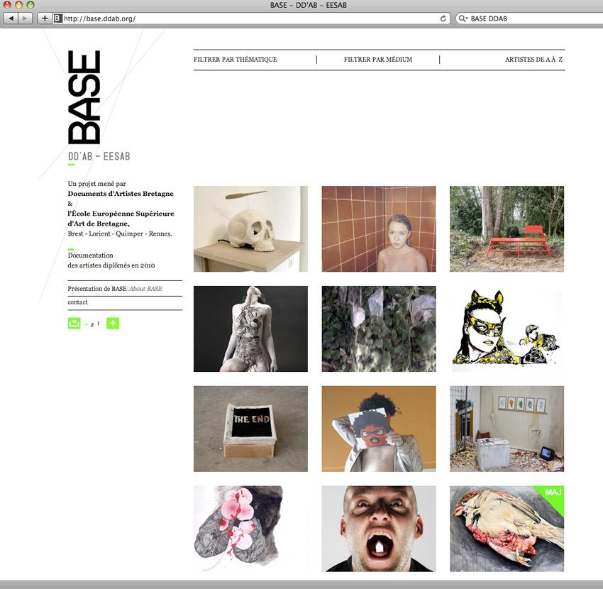 présentation de la page d'accueil du site base.ddab.org