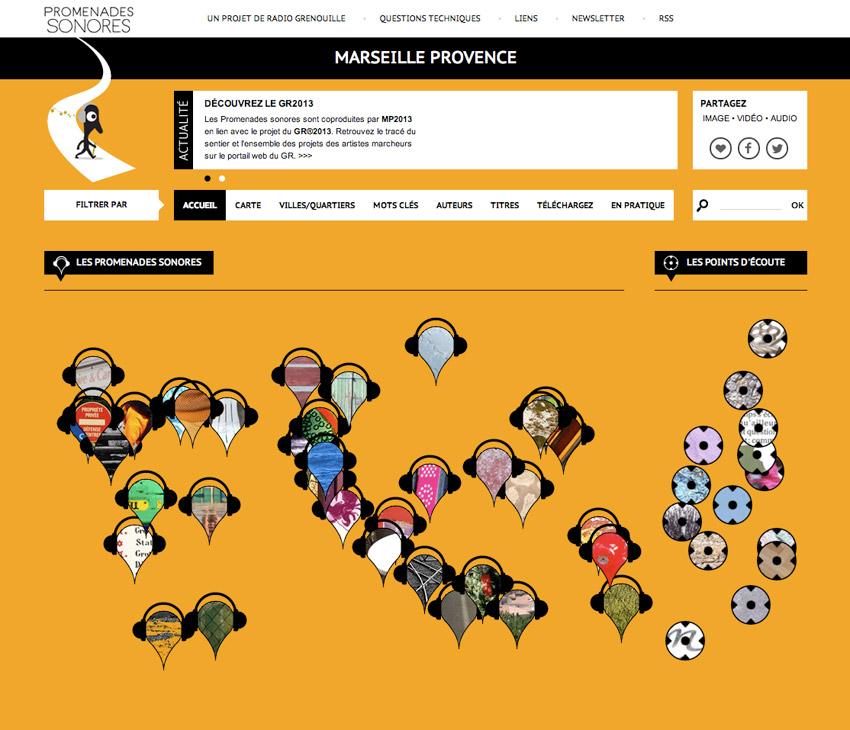capture d'écran de la page d'accueil du site Promenades Sonores