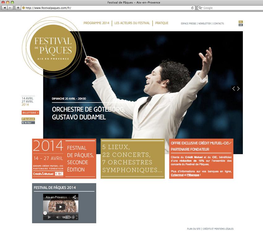 Capture d'écran de la page d'accueil du site Festival de Pâques à Aix-en-Provence. Directeur Artistique Renaud Capuçon et directeur exécutif Dominique Bluzet