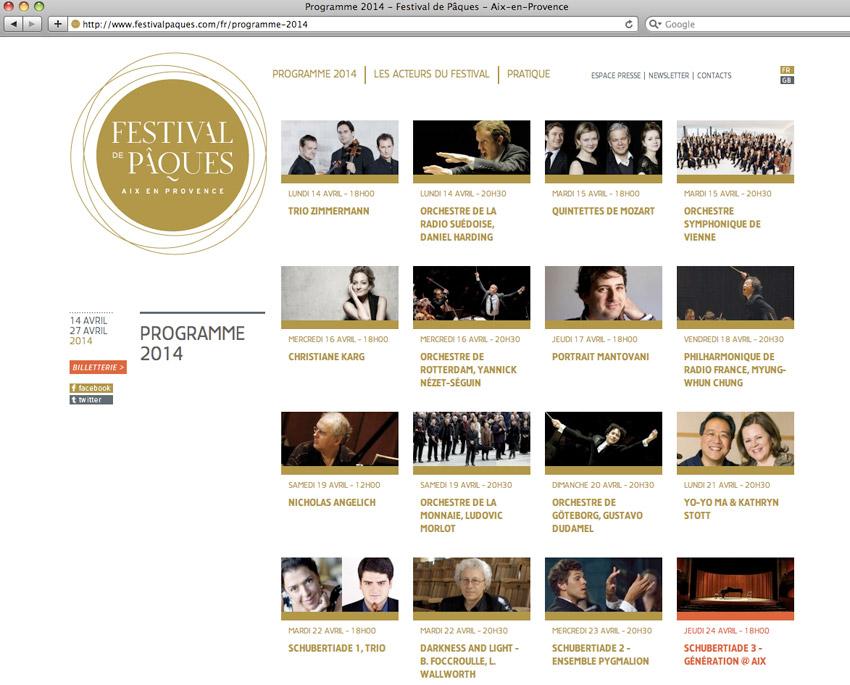 La page du programme du Festival de Pâques, rendez-vous de la musique classique, à Aix-en-Provence