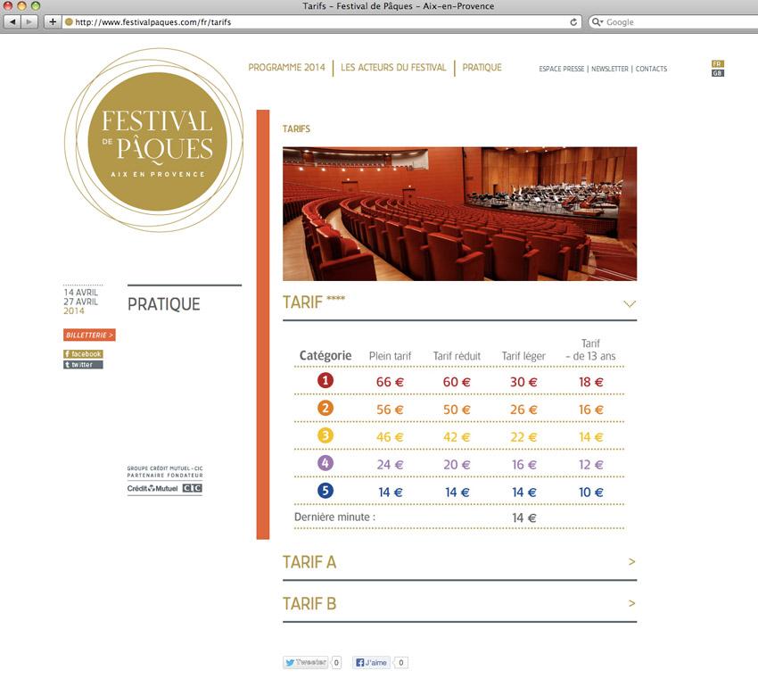 page tarif du Festival de Pâques