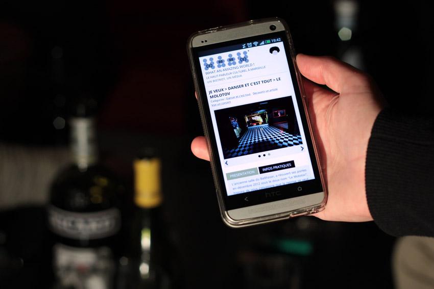 vue d'un mobile avec le site du WAAW sur une fiche structure. ici le Molotov à marseille