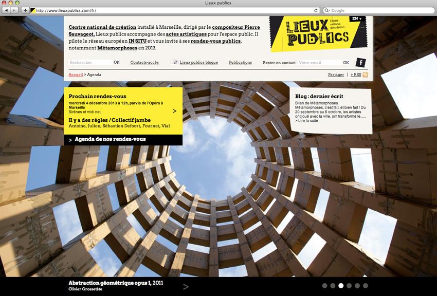 capture d'écran de la page d'accueil du site de lieux publics centre national de création en espace public installé à Marseille
