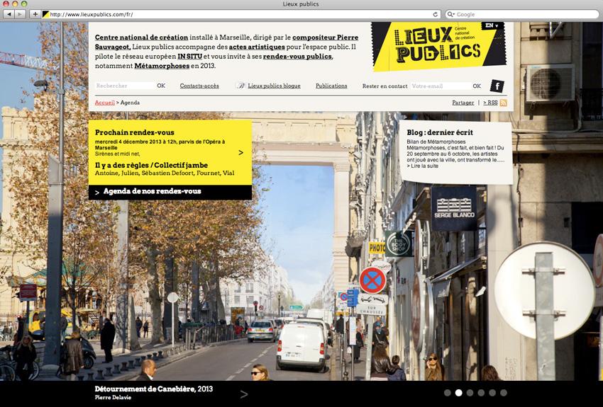 capture d'écran du diaporama d'accueil du site de lieux publics centre national de création en espace public installé à Marseille
