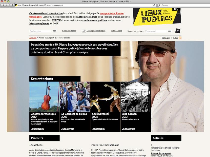 capture d'écran de la page présentant les création de  Pierre Sauvageot sur le site de lieux publics centre national de création en espace public installé à Marseille