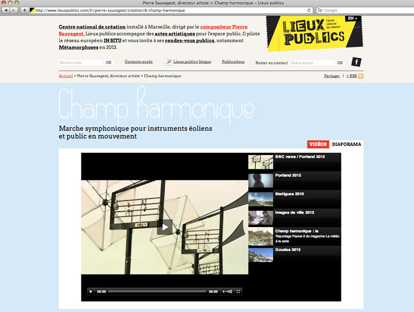 capture d'écran de la page présentant une des créations de  Pierre Sauvageot sur le site de lieux publics centre national de création en espace public installé à Marseille