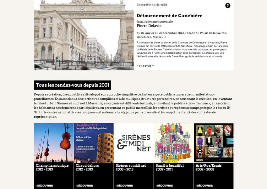 capture d'écran de la page présentant les créations artistique accompagnées par Lieux Publics, centre national de création en espace public installé à Marseille