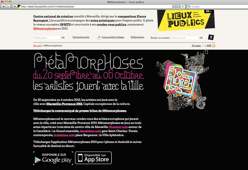 capture d'écran de la page présentant le projet etamorphoses de Lieux Publics, centre national de création en espace public installé à Marseille.   Les artistes ont joué avec la ville avec Marseille-Provence 2013, Capitale européenne de la culture