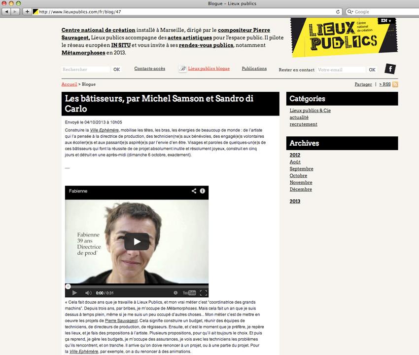 capture d'écran du blog de Lieux Publics