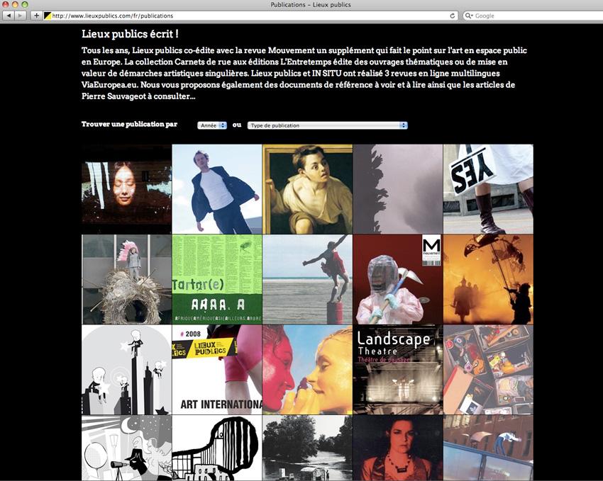capture d'écran de la page des publications de Lieux Publics, centre national de création en espace public installé à Marseille