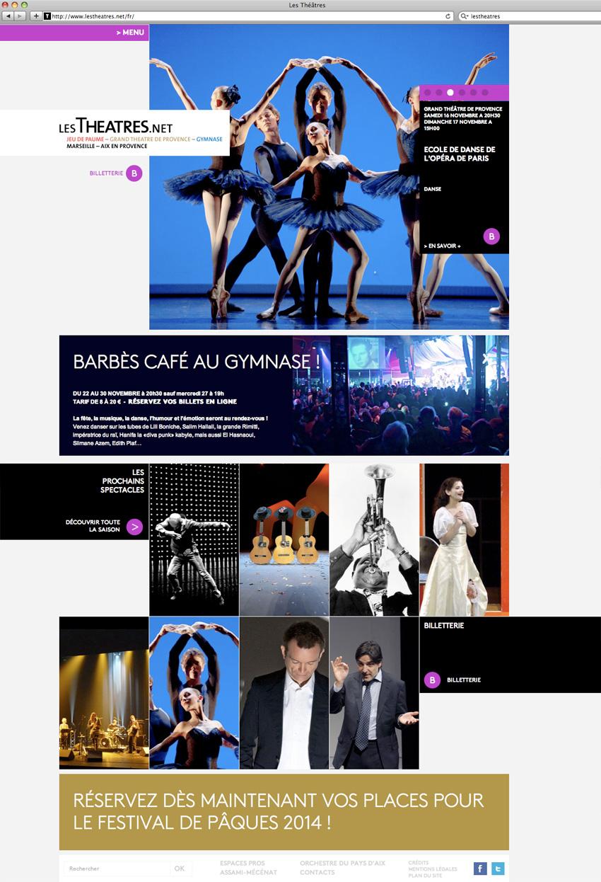 capture écran de la page d'accueil du site lestheatres.net regroupant le Grand théâtre de Provence, le théâtre du Gymnase et le théâtre du Jeu de Paumes - Marseille et Aix-en-Provence