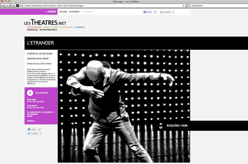vue d'une fiche spectacle du site lestheatres.net. En exemple, celle du spectacle L'étranger de Camus adapté par Emio Greco au théâtre du jeu de Paume à Aix-en-Provence
