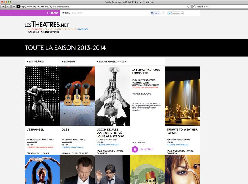 Capture écran de la page agenda de la saison en cours des lestheatres.net