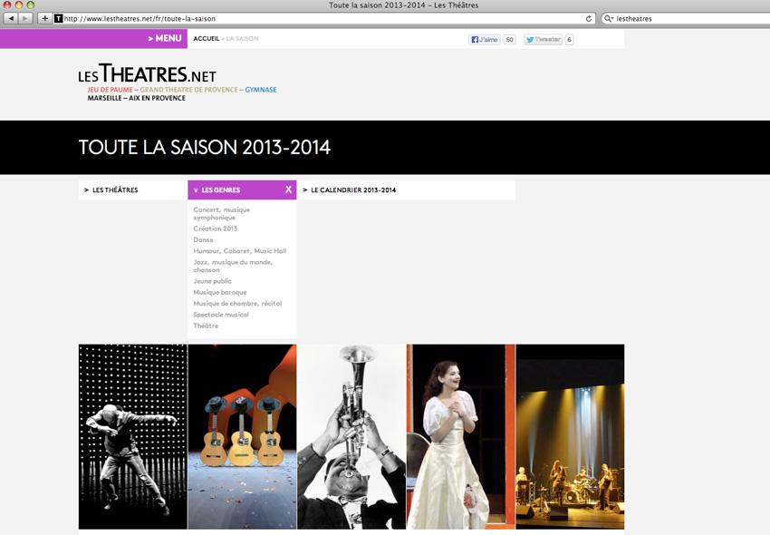 Page agenda de la saison en cours du site lestheatres.net avec filtres