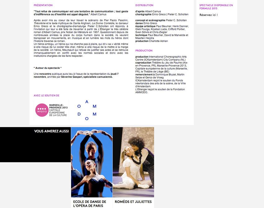 le bas de la fiche spectacle du site lestheatres.net. En exemple, celle du spectacle L'étranger de Camus adapté par Emio Greco au théâtre du jeu de Paume à Aix-en-Provence