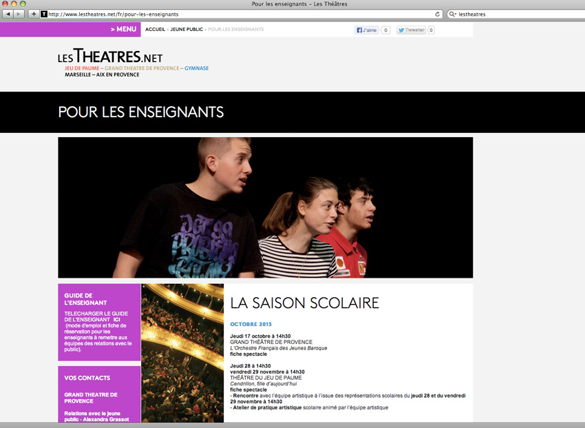 Page à destination des enseignants, public scolaire, sur le site lestheatres.net regroupant le Grand théâtre de Provence, le théâtre du Gymnase et le théâtre du Jeu de Paumes - Marseille et Aix-en-Provence