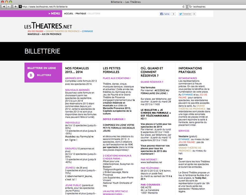 Page présentant la billetterie sur le site lestheatres.net regroupant le Grand théâtre de Provence, le théâtre du Gymnase et le théâtre du Jeu de Paumes - Marseille et Aix-en-Provence