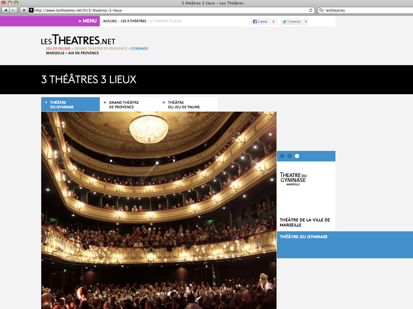 Vue de la page de présentation des 3 théâtres du site lestheatres.net regroupant le Grand théâtre de Provence, le théâtre du Gymnase et le théâtre du Jeu de Paumes - Marseille et Aix-en-Provence