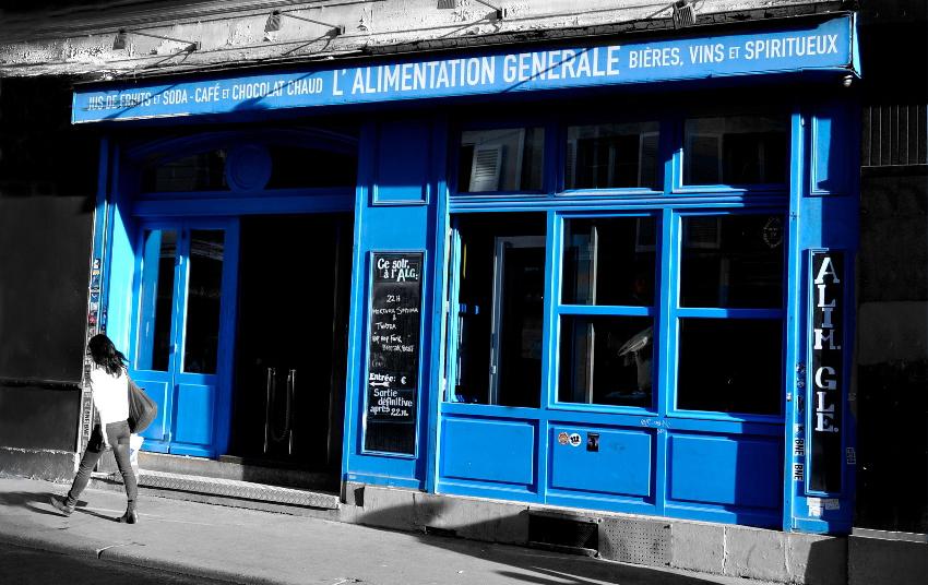 photo de la devanture de l'l'Alimentation Générale - ALG : Bar Concert Live à Paris Musique actuelle.