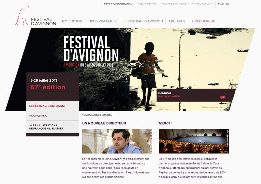 capture d'écran de la page d'accueil du festival d'avignon