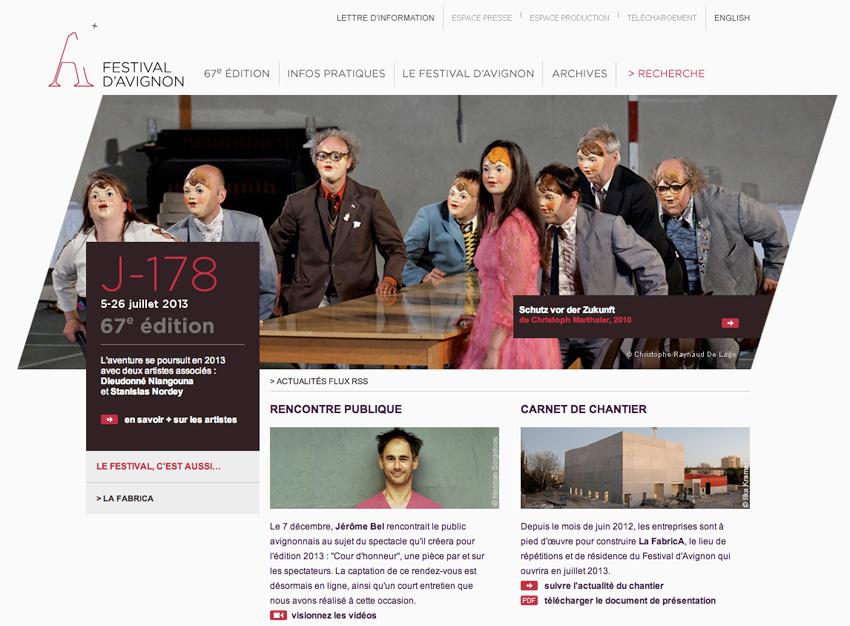capture d'écran de la page d'accueil du festival d'Avignon, avant l'ouverture
