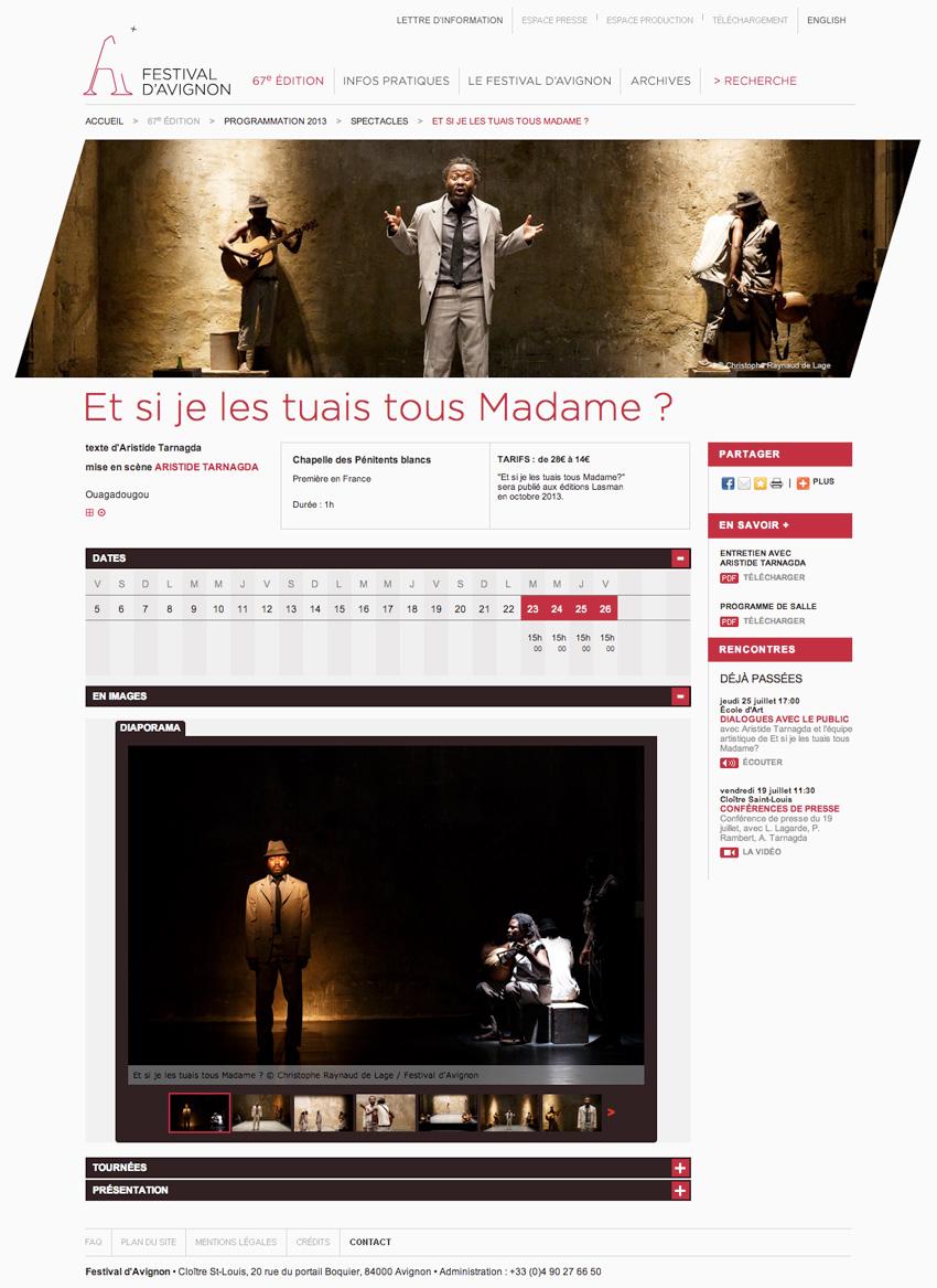 capture d'écran d'une page spectacle du festival d'avignon présentant Et si je les tuais tous Madame ? mise en scène d'ARISTIDE TARNAGDA