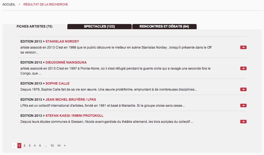 capture d'écran de la liste de résultats du moteur de recherche