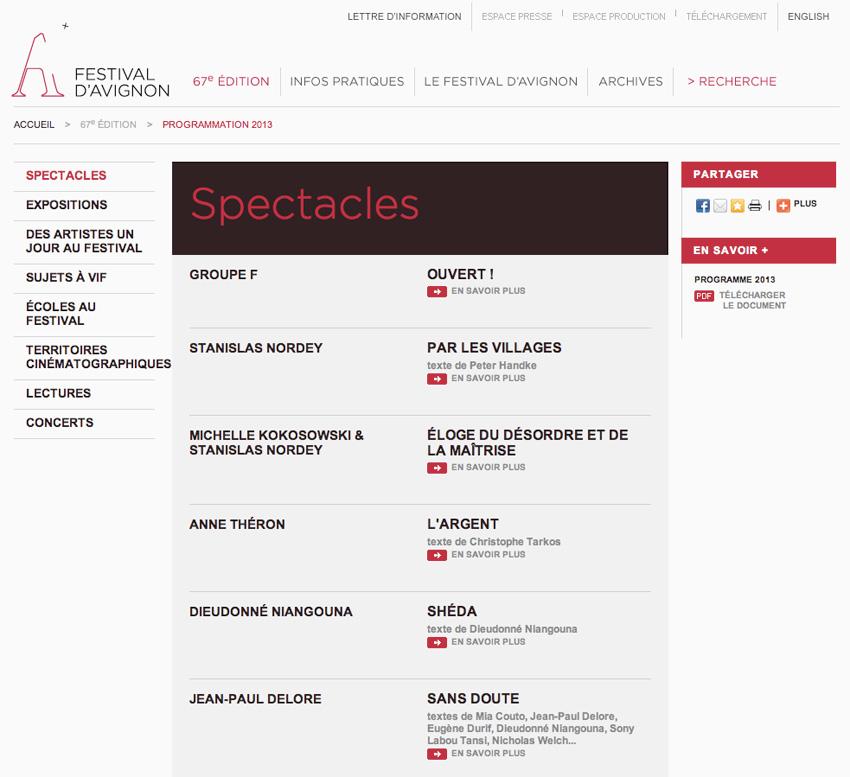 liste des spectacle par édition sur le site du festival d'Avignon