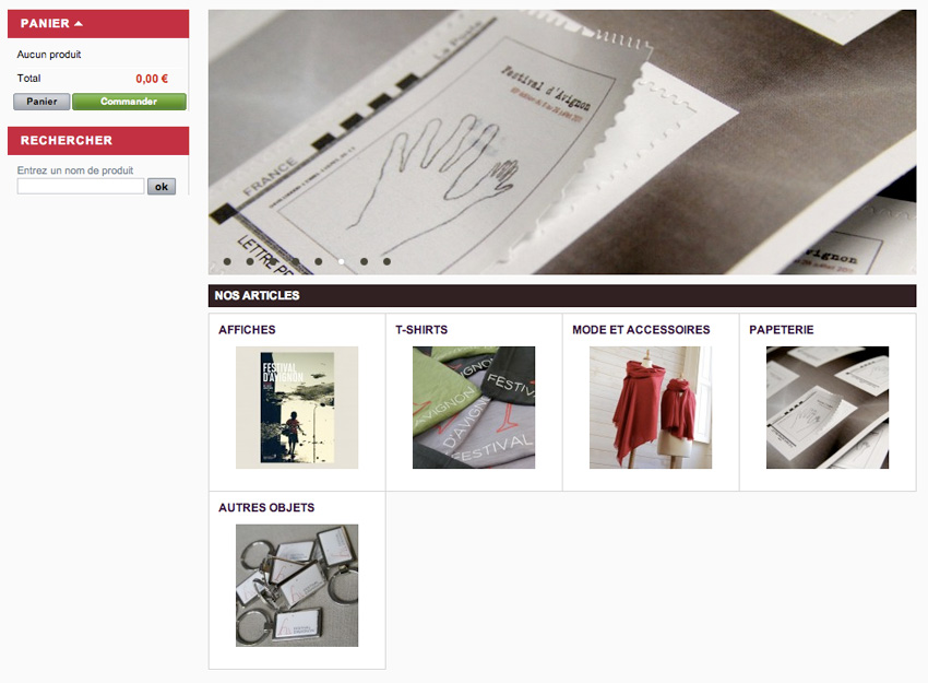 capture écran de la boutique en ligne du Festival d'Avignon