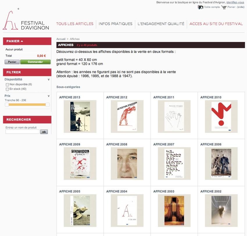 capture écran de la page d'accueil de la boutique en ligne du Festival d'Avignon