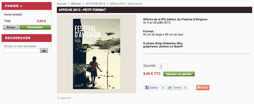 capture écran d'une fiche produit (ici une affiche du festival)de la boutique en ligne du Festival d'Avignon