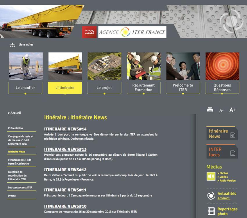 vu de la page d'ITER (International Thermonuclear Experimental Reactor ou en français : « réacteur thermonucléaire expérimental international » ) qui liste toutes les newsletters en archive