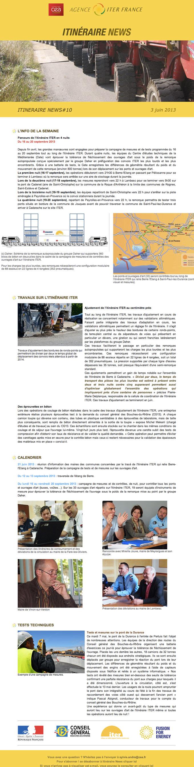 capture écran de newsletter Itinéraire de ITER
