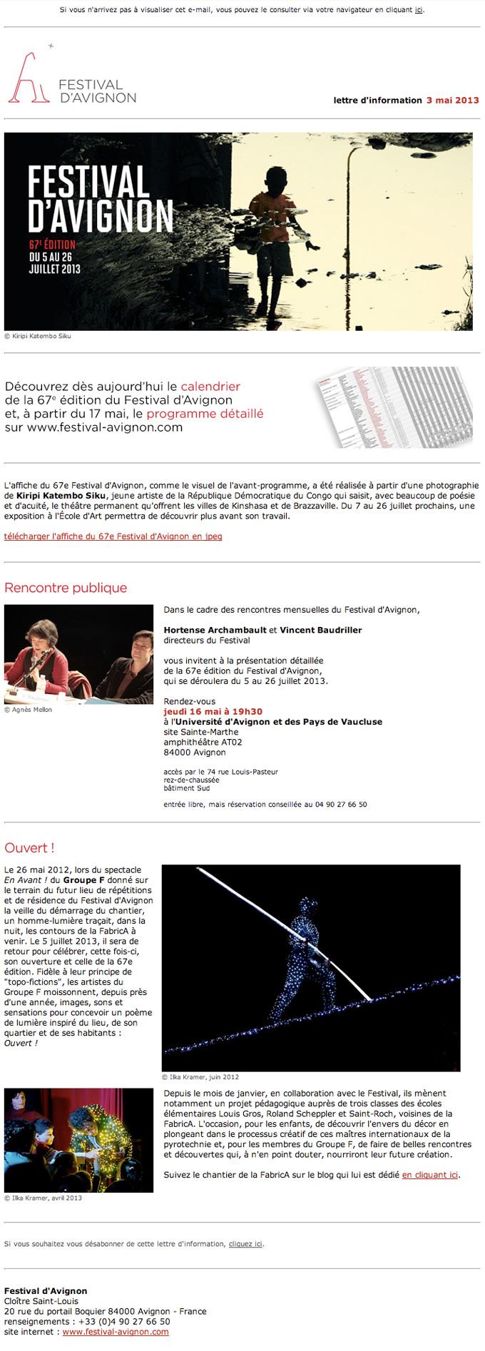 capture écran de la newsletter du festival d'Avignon