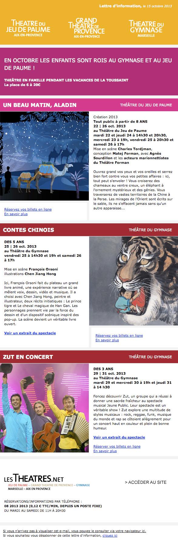 capture écran de la newsletter pour les 3 théâtres : Théâtre du gymnase, Grand théâtre de provence, Théâtre du jeu de Paume. Aix-en-Provence Marseille