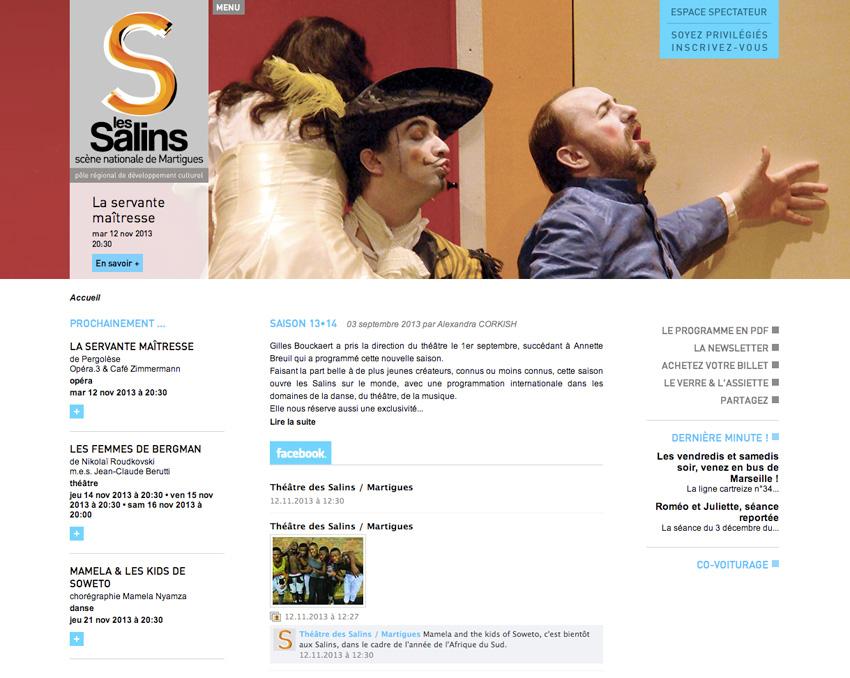 capture d'écran de la page d'accueil du site  du theatre des Salins - scène nationale Martigues, Bouches-du-Rhône (13)