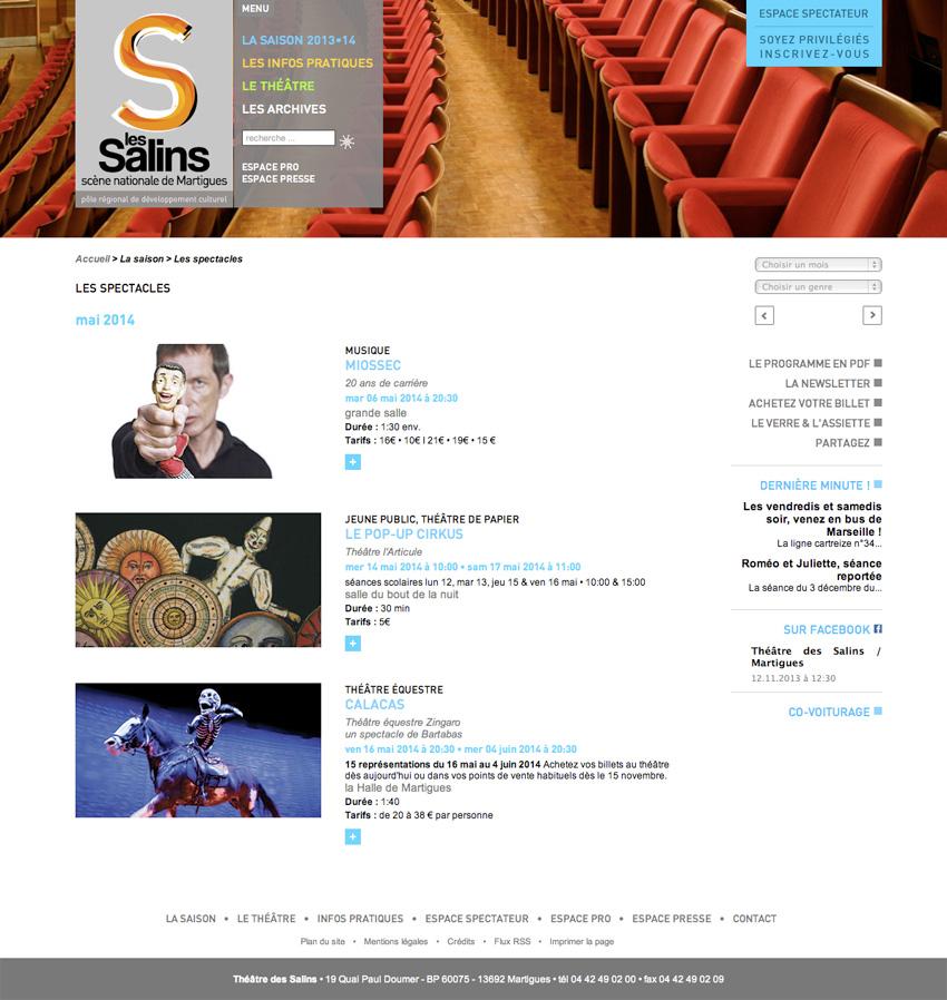 capture d'écran de la page des spectacles de la saisons du site  du theatre des Salins - scène nationale Martigues, Bouches-du-Rhône (13)