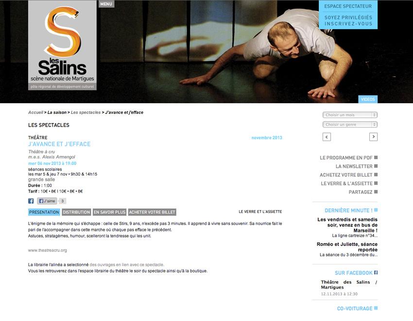 capture d'écran d'une fiche spectacle sur le site  du theatre des Salins - scène nationale Martigues, Bouches-du-Rhône (13)