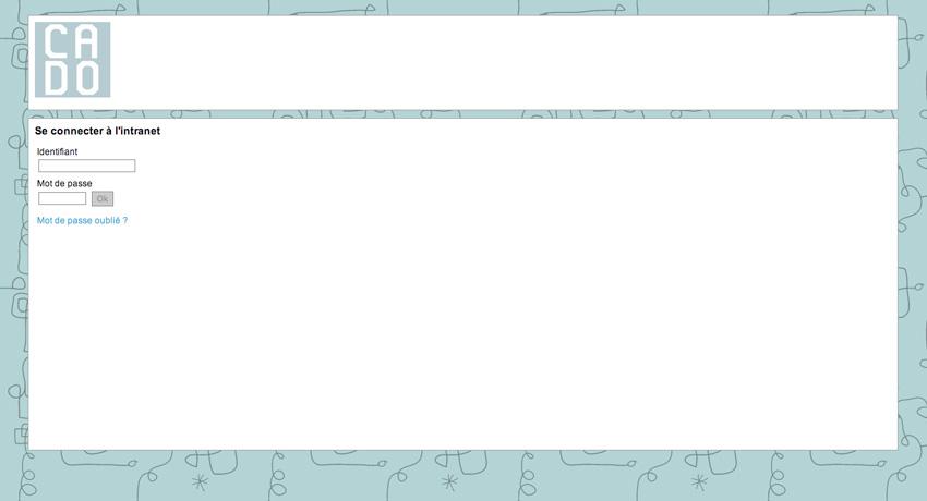 capture de la page login de extranet de la couveuse CADO initiée par l'association A.M.I, Aide aux Musiques Innovatrices, à la Friche la Belle de Mai