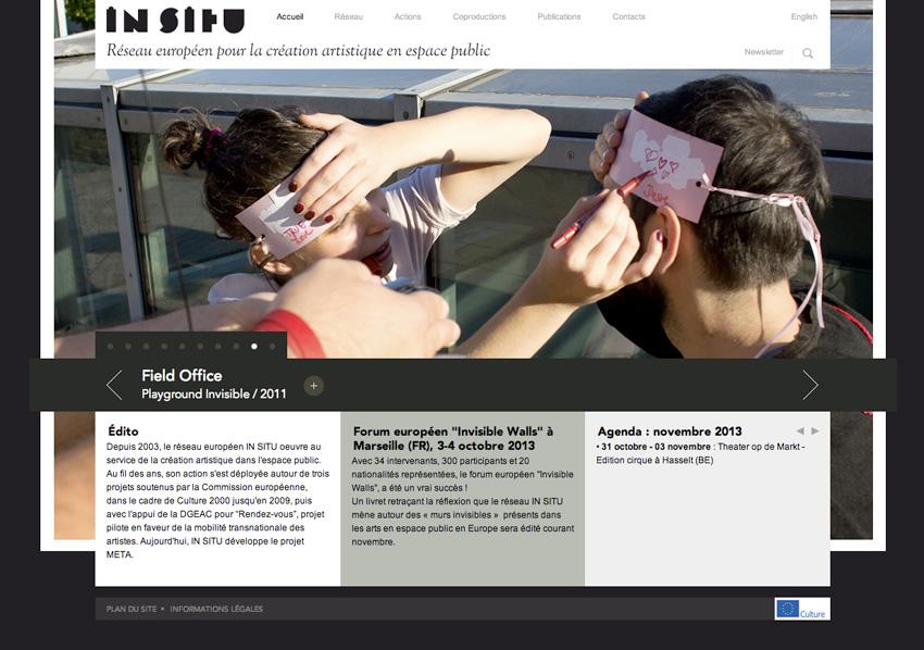 capture écran de la page d'accueil du site In SITU réseau européen qui oeuvre au service de la création artistique dans l'espace public