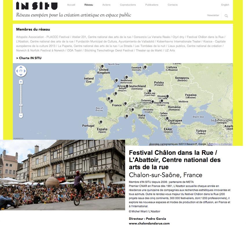 capture écran de la carte du réseau sur le site In SITU réseau européen qui oeuvre au service de la création artistique dans l'espace public